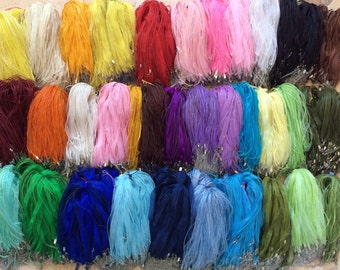 50 pcs 30 colors mixed Organza Ribbon Waxed Cotton Cord Necklace,pick your color,Organza ribbon necklace,waxed cotton necklace,cord necklace