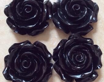 2 pcs 30 mm Cabochon Flowers, Black, 30 mm black flower, 30 mm Black resin flower, black resin flower, big rose, flower kit, black flower