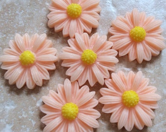 8 pcs Cabochon Flowers,Peach sun flower,peach cabochon,peach resin flower,22 mm peach flower ,22 mm peach resin flower,sun flower cabochon