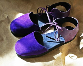 Purple suede and leather sandals, wedge, espadrilles