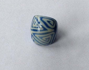 Ring Abstract Funky Fun Geometric Design Blue and White Statement