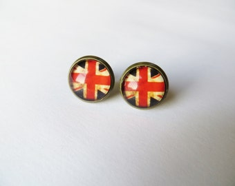 Union Jack Earrings, Flag Jewelry, London, United Kingdom Studs, UK Posts