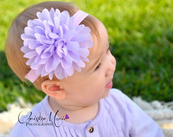 Baby headbands, lavender flower headband, baby girl headbands, lavender baby headband, easter headband, newborn headband, infant headband
