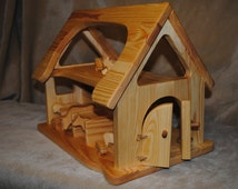 Toy farm for animals handmade barn , Handmade wooden dollhouse / Natural Wooden Dollhouse Waldorf , Montessori , Handcrafted Toy , Toys
