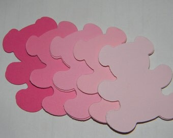 50 shades of pink teddy bears confetti punched die cuts -perfect for scrapbooking, cards, showers, embellishments