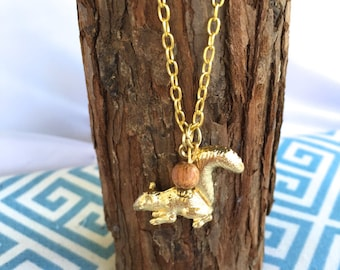 Gold Squirrel Charm Necklace