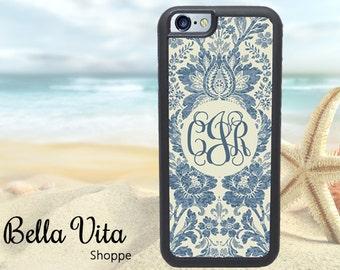 iPhone 6 Plus Case, Personalized iPhone 6S Plus Case, Monogram iPhone Case, Boho Indigo Bohemian I6P