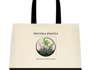 Tote Bag, Travel Bag, handbag, canvas, Piccola Pianta Two Tone Canvas Tote