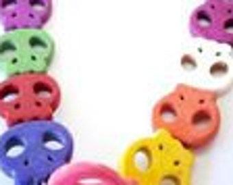 Skull Beads Strand Mixed Colors