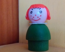Little People red haired girl wooden body plastic head