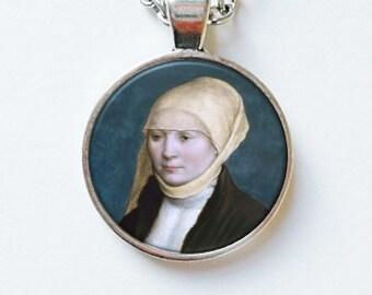 Fine Art Pendant Earrings Portrait Necklace Antique Face Painting Vintage Fine Art Old Master Wearable Art