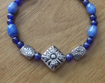Sale - Handmade Glass Bead Bracelet, Blue and Silver Bracelet, Toggle Clasp