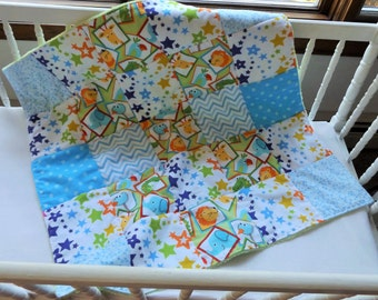 Sale - Handmade Flannel and Minky Fleece Carseat or Stroller Quilt, Lions and Giraffes Patchwork, Modern