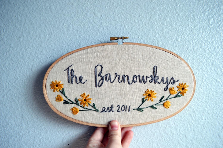 Custom wedding embroidery hoop anniversary gift by