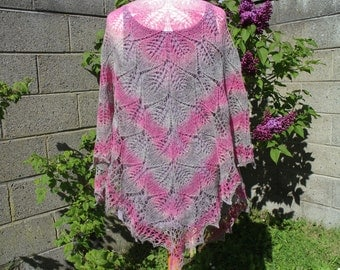Hand knit triangular lace wool shawl