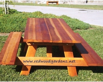 5ft Picnic Table with Benches. Heavy Duty Redwood.