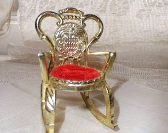 Doll ROCKING CHAIR with Red Velevet Seat- Cute Doll Chair- Doll Display Rocking Chair-Doll Rocker-Gold With Red Seat