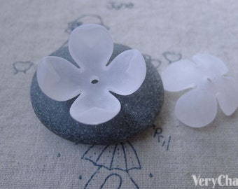 30 pcs of Acrylic Frosted Flower Bead Caps 9x23mm A7656