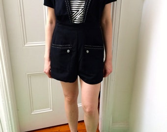 90s Club Circus Goth Burlesque romper playsuit jumpsuit onesie overall tuxedo deco buttons small 8