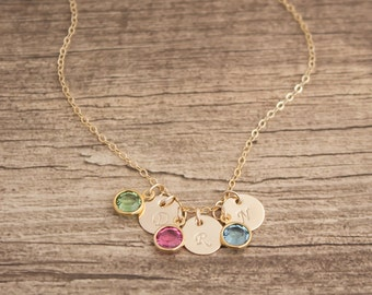 14k Gold Filled Personalized Initial Necklace- Birthstones