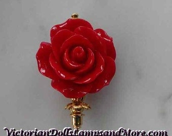 Lapel Pin for Mother Day 3 inch corsage pin with red flower with gold findings and stick