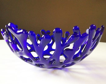 Decorative Fused Glass Branch Nest Coral Bowl in Cobalt Blue