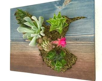 CUSTOM COLOR: Hummingbird Succulent + Cacti Vertical Garden | Vertical Planter | Living Wall | Wall Planter | Hanging Planter | Wood