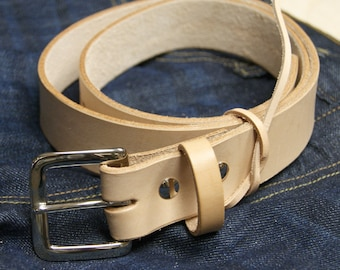 Handcrafted Natural Leather Belt 1.25""