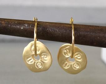Everyday gold earrings, Gold Dangle Earrings, Gold Coin Earrings, everyday earrings gold coin jewelry, nickel free