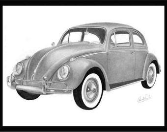 Car art pencil drawing of a 1958 Volkswagen Beetle