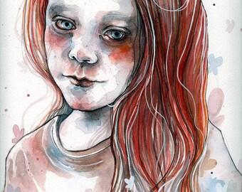 Autumn's sadness, ORIGINAL watercolor painting