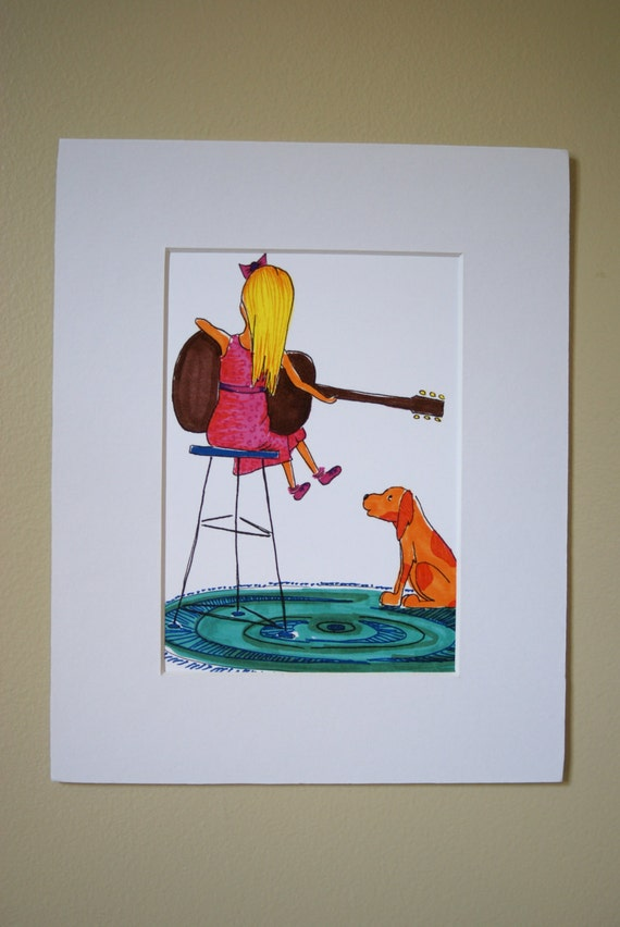 8x10 Matted Print Of Little Girl With Guitar And Dog By