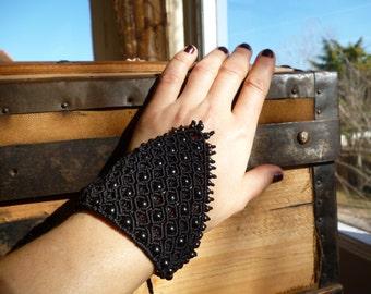 Black Macrame Bracelet, hematite bracelet, boho bracelet, gemstone bracelet, macrame gemstone, healing jewelry.