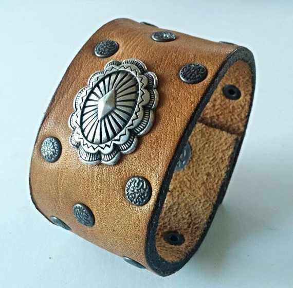 Leather cuff vintage belt repurposed leather by Repurposed leather belts