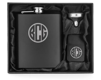 Monogram Engraved Matte Black 7oz Stainless Steel Hip Flask Funnel Lighter Gift Box Set Personalized Custom Groomsman Best Man Wedding Gift