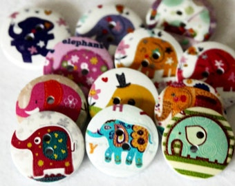 12 Wooden Elephant Buttons 20mm - Printed Wood Buttons - Wood Elephant Shape - Fun Buttons - Mixed Color Zoo Animals - PW98