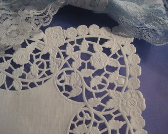 """8""""  inch Square White Paper Lace Doilies - FLOWER Floral Pattern -  25  pcs DIYS Wedding Envelopes"""