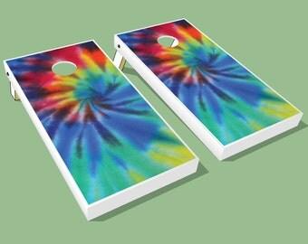 Groovy Tie Dye Cornhole Boards - Tie Dye theme Cornhole Boards