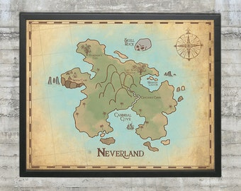 Peter Pan Nursery, Neverland Map, Map of Neverland, 20x16 Nursery Art Print, Neverland Series