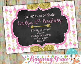 Pink and Gold Glitter Party Invitation