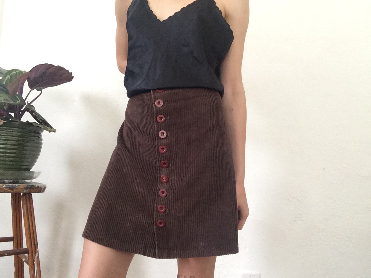 corduroy button up skirt 90s high waisted by sisterworld