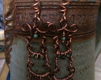 NEW!  Turquoise and copper chandelier earrings