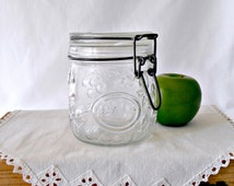 Fruit Embossed Glass Canning Jar, Hermetic Locking Lid, Half Liter Glass Jar, Storage Container, Wheaton Style, Textured Glass Canister