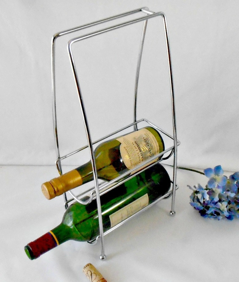 Vintage metal bottle carrier chrome wire wine by gsalehunter - Wire wine bottle carrier ...