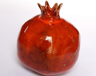 Big Red pomegranate home decor, prosperity symbol, good Luck for Home, clay, table d'ecor, Rosh Hashanah gift, wedding gift, ceramics