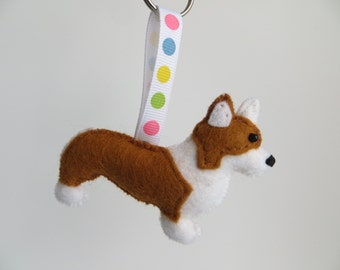 Hand sewn Pembroke Welsh Corgi dog keyring
