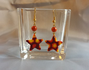 Earrings with mosaic effect in polymer clay