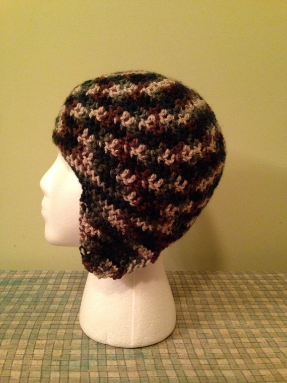 Easy Crochet Hat Pattern With Ear Flaps : PATTERN Crochet Hat with Ear Flaps PATTERN