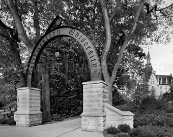 The Arch; Northwestern University; Elegant b&w image carefully processed to capture the best aspect of this campus icon. A truly unique gift