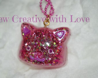 Pink Glitter Cat Necklace, Resin Cat Necklace, Pink Kitty Necklace, Kitty Necklace, Cat Necklace, Easter Necklace, Glitter OOAK Jewelry